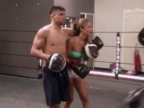 Look at her left hook! Draya and Victor Ortiz have a boxing session.