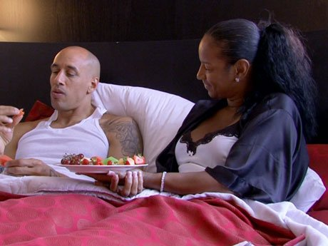 Breakfast in bed! Doug and Jackie reminisce over their magical wedding the night before.