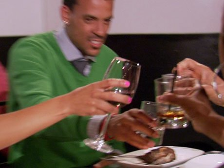 Cheers! Doug, Jackie, Matt, and Gloria share a drink.