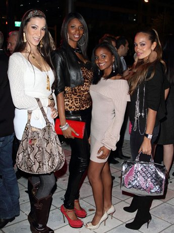 MIAMI - FEBRUARY 17: Suzanne Ketcham, Jennifer Williams, Royce Reed and Evelyn Lozada of the reality show NBA Housewives attend the grand opening of Boca Tanning Club Brickell on February 17, 2010 in Miami, Florida.