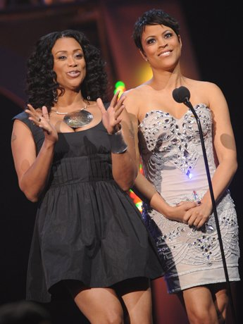 ATLANTA, GA - NOVEMBER 17: Tami Roman and Shaunie O'Neal at the 2011 Soul Train Awards at The Fox Theatre on November 17, 2011 in Atlanta, Georgia.