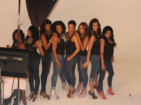 The ladies pose in their denim look.