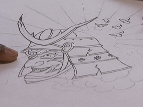 Rough sketch of Nigel's samurai tattoo.