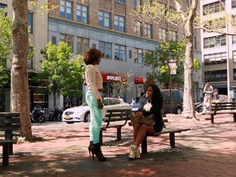 K. Foxx confronts Angela at the park.