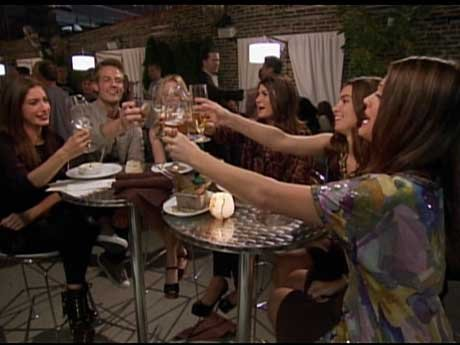 Corrie and the gang get drinks. Cheers!