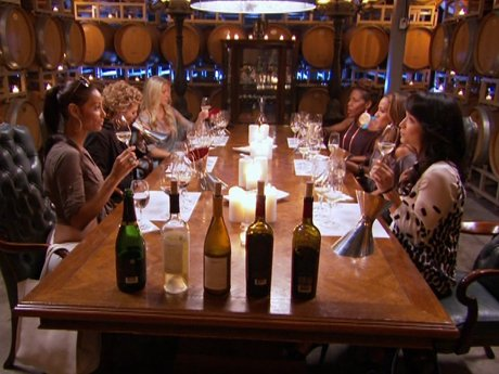 The girls gather for a luxurious wine tasting experience.
