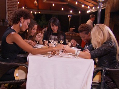 Before they eat, Sheree leads a prayer - Nicole just can't seem to get used to this lifestyle!