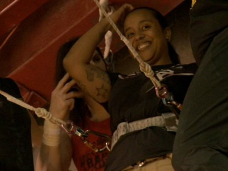 La La proves that black women are adventurous too by going on the trapeze!