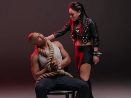 Tahiry shoots her music video for 'Devil'.