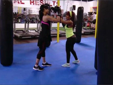K.Michelle and Mimi work it out.