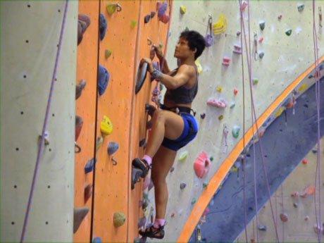 Climb away! Joseline looks like the next Spiderman!