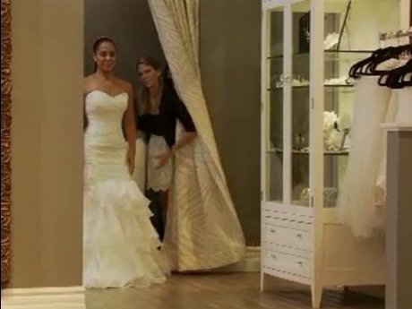 Tiffney goes dress shopping with her friends. She looks beautiful!