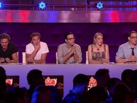 The judges table is stacked.