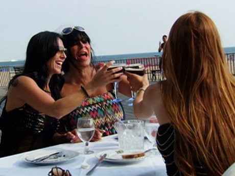 Big Ang, Carla, and Drita laugh it up at the beach.