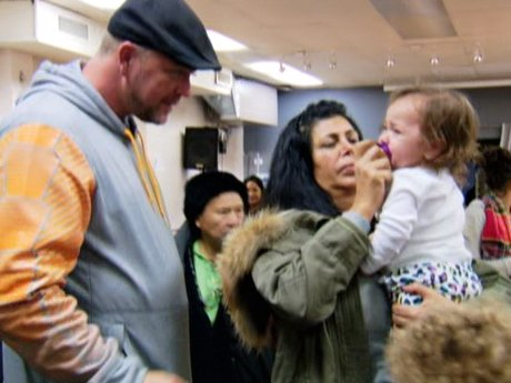 Big Ang and Neil visit a relief center.