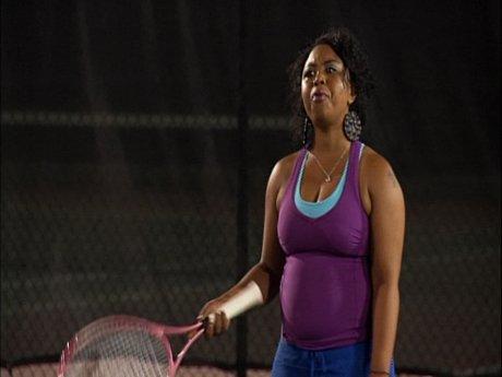 4. Shekinah and Tiny play tennis.