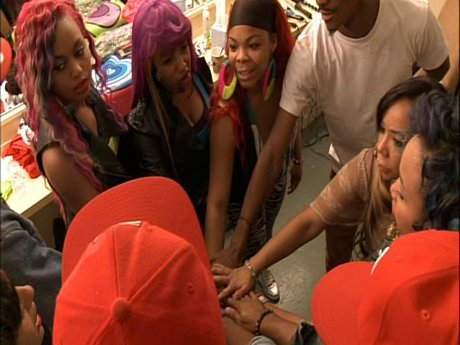 The OMG Girlz prepare to perform in Baltimore.