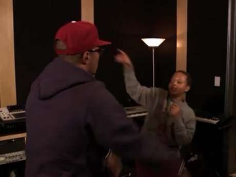 T.I. gives Domani some pointers before his big show.
