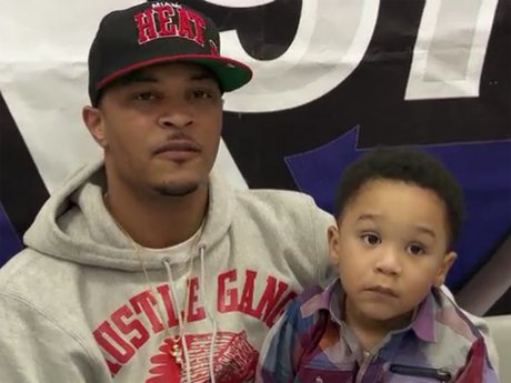 T.I. answers questions during a press conference in Memphis.