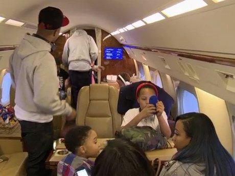 The Harris family rides in style in a private jet!