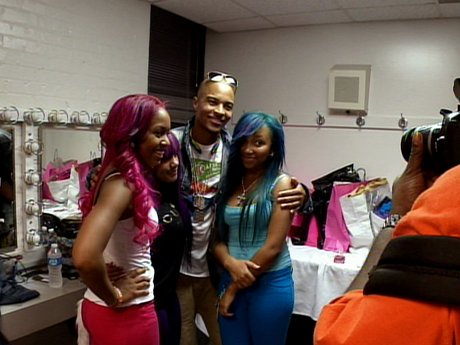 Now that his performance is over, T.I. comes to support his daughter and niece of the OMG Girlz.