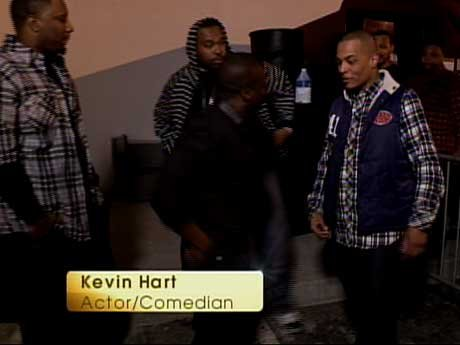 Comedian Kevin Hart is the emcee of the Akoo fashion show.