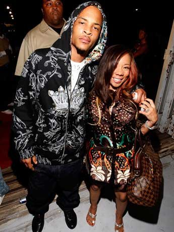 """T.I. and Tameka """"Tiny"""" Cottle at the Young Jeezy Hangar Party celebrating the launch of the Eight732 clothing line on September 30th, 2007 in Atlanta, GA"""