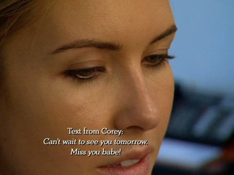 Audrina receives text after text from Corey while she preps for her Marie Claire photoshoot.