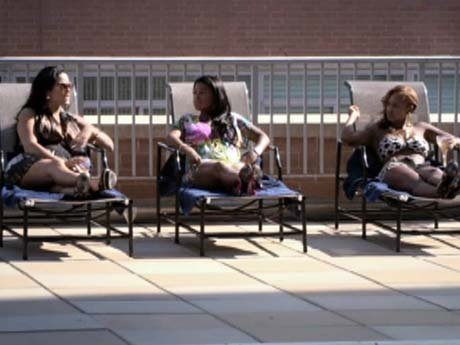 Olivia, Emily, and Chrissy sit poolside and scope out men.
