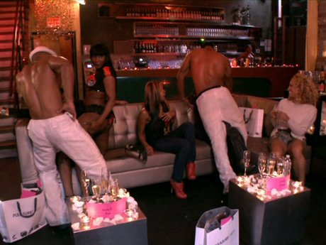 The male strippers get friendly with the cast of Love and Hip Hop.