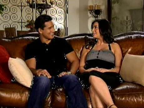 A scene from Mario Lopez: Saved by the Baby starring Mario and his girlfriend Courtney Mazza.