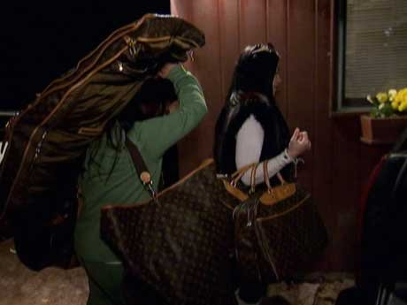 Ramona brings her essentials to the cabin: her Louis Vuitton.