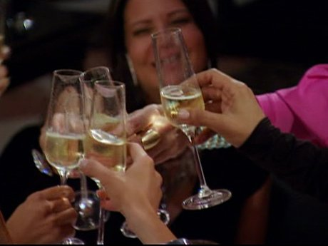 Clink! The girls set aside all drama for a good time.