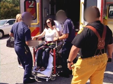 Ashleigh is taken to the hospital after suffering a seizure.