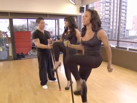 June introduces Trina to the stiletto workout