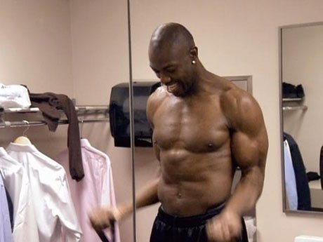 In the meantime, T.O. sculpts his body in preparation for his play.