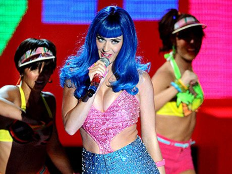 Katy Perry performs onstage at the 2010 MTV Movie Awards at Gibson Amphitheatre on June 6, 2010 in Universal City, California.