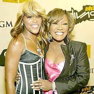 Eve and Patti LaBelle pal around backstage. credit: Frank Micelotta/Getty Images
