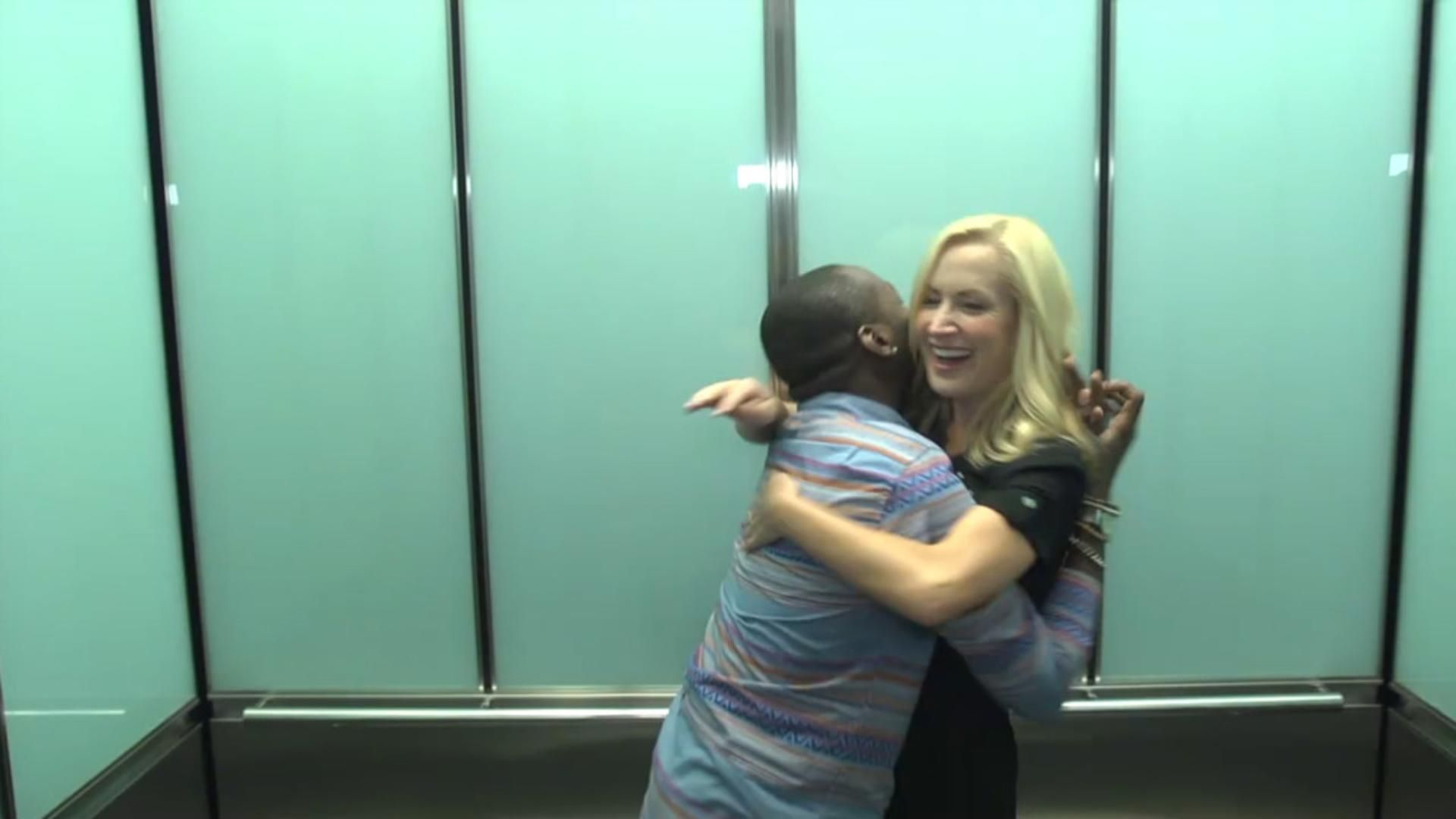 Angela Kinsey Nude jarvis in the elevator with angela kinsey